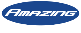 Logo of Amazing HVAC (Blue Background, White Tagline)