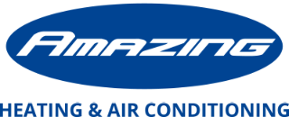 Logo of Amazing HVAC (White Outline, Blue Fill, Blue Tagline)